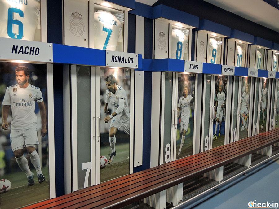 Visita vestuario del Real Madrid en el Santiago Bernabéu (España)