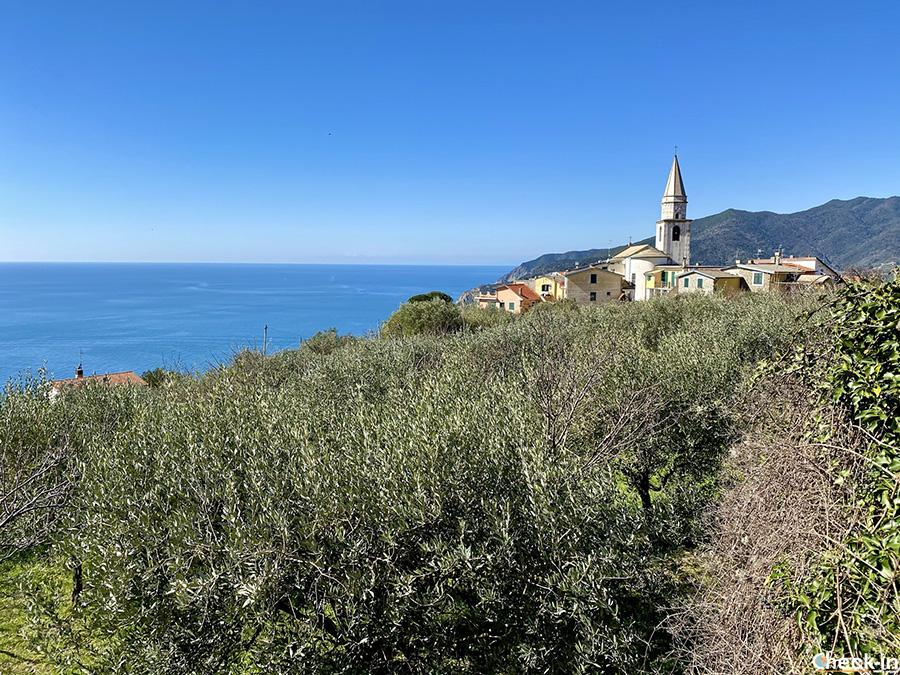 Il borgo di Lemeglio dal sentiero verdeazzurro verso Deiva Marina - Liguria di levante