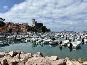 Panorama della baia di Lerici, del castello e del porticciolo turistico - Golfo dei Poeti