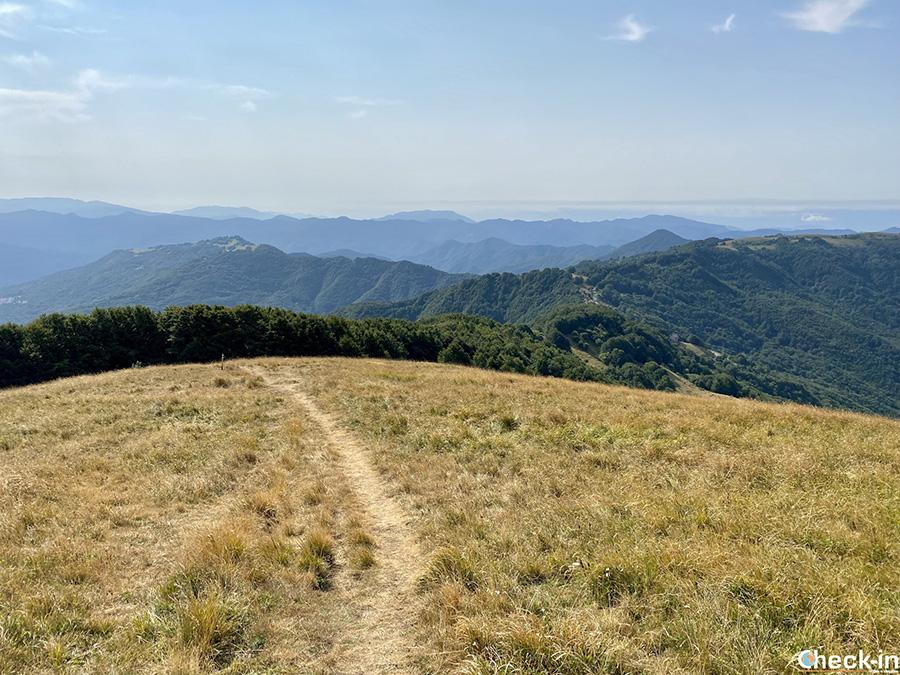 Panorama vista mare dalla cima del M.te Carmo - Appennino Ligure