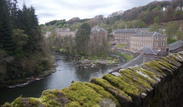 View of New Lanark from the Falls of Clyde's trail