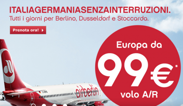 Offerte voli Air Berlin dall'Italia verso Germania