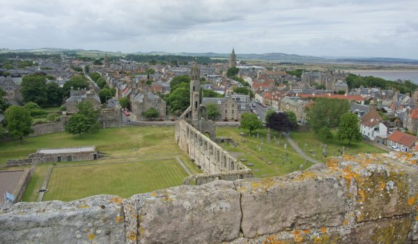 Panoramic view across St Andrews and Fife from St Rule Tower