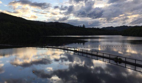 Sunset over river Tummel near Pitlochry Dam - Perthshire, Scotland